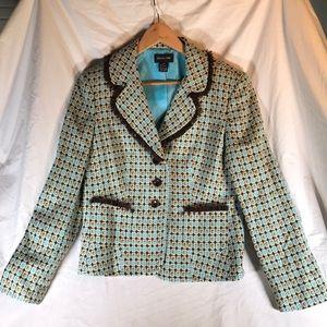 FOCUS 2000 Turquoise/brown/cream ruffles  jacket